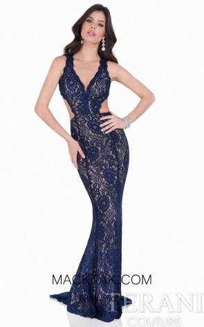 Terani 1623E1652 Navy/Nude Dress
