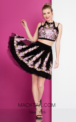 Terani 1721H4513 Black Orchid Front Evening Dress