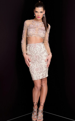 Terani 1722H4601 Champagne Front Evening Dress