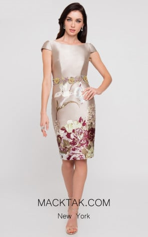 Terani 1811C6023 Champagne Multi Front Dress