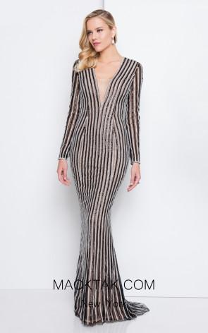 Terani 1811GL6436 Black Nude Front Dress