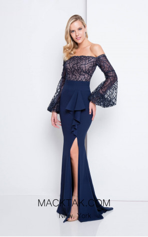 Terani 1811M6570 Navy Nude Front Evening Dress