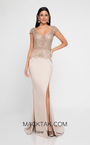 Terani 1811M6578 Champagne Front Evening Dress