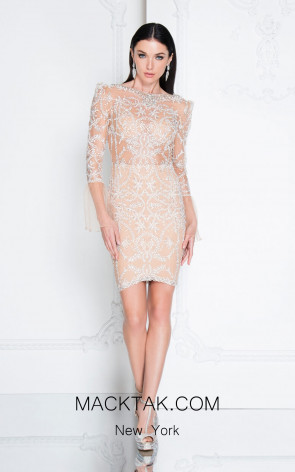 Terani 1812C6051 Ivory Nude Front Dress