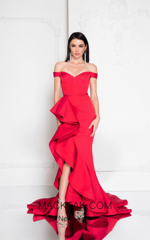 Terani 1812E5384 Red Front Evening Dress