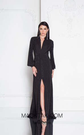 Terani 1812E6274 Black Front Evening Dress