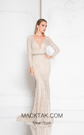 Terani 1812E6299 Champagne Front Evening Dress