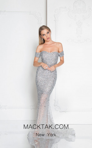 Terani 1812GL5359 Silver Front Evening Dress