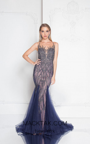 Terani 1812GL5596 Navy Front Evening Dress