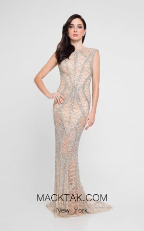 Terani 1812GL6499 Silver Nude Front Evening Dress