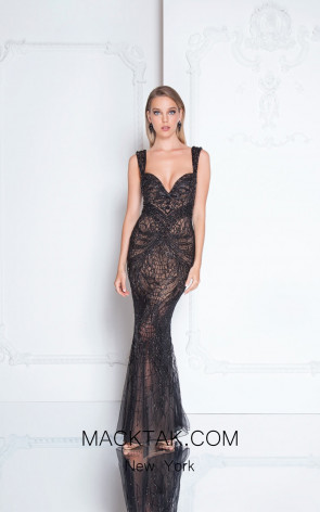 Terani 1812GL6513 Black Nude Front Evening Dress