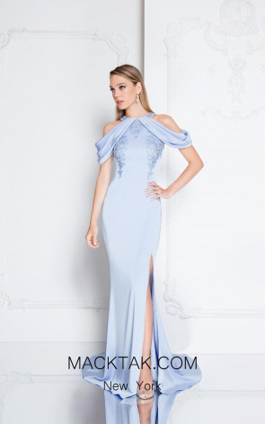 Terani 1813M6713 Sky Blue Front Evening Dress