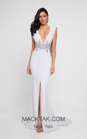 Terani 1813M6726 Silver Front Evening Dress