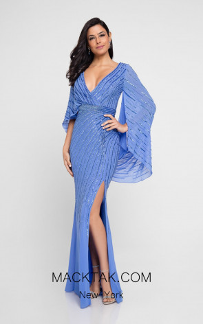 Terani 1813M6740 Periwinkle Front Evening Dress
