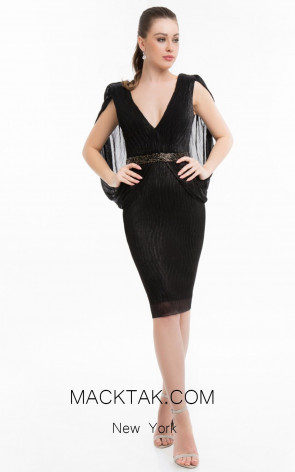 Terani 1821C7015 Black Front Evening Dress