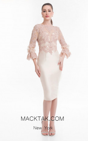 Terani 1821C7016 Champagne Cream Front Dress