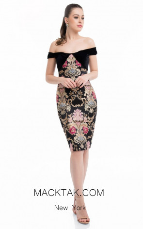 Terani 1821C7021 Black Multi Front Evening Dress