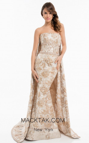 Terani 1821E7145 Rose Gold Front Evening Dress