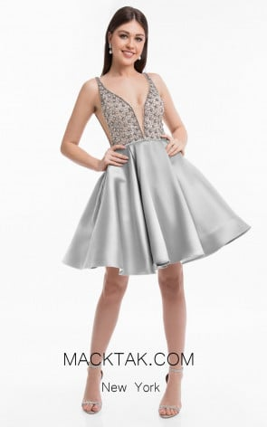 Terani 1821H7771 Crystal Silver Front Dress