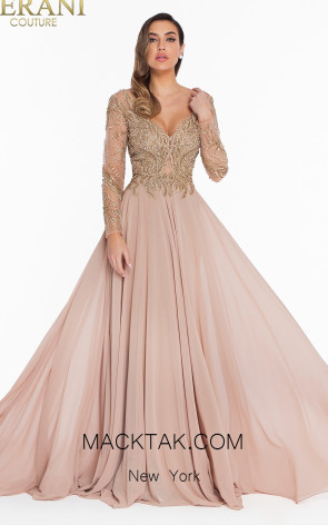 Terani 1821M7563 Gold Nude Front Dress