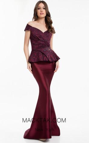 Terani 1821M7577 Wine Navy Front Dress
