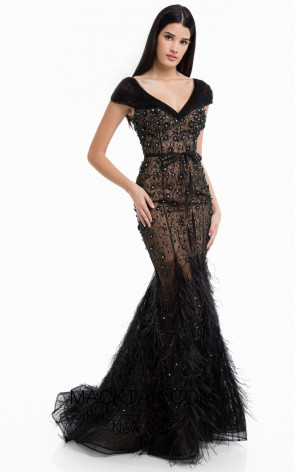 Terani 1822GL7502 Black Front Evening Dress