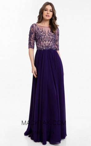 Terani 1822M7659 Purple Front Evening Dress