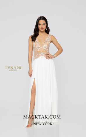 Terani 1911P8150 Ivory Nude Front Dress