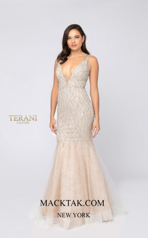 Terani 1911P8352 Ivory Nude Front Dress