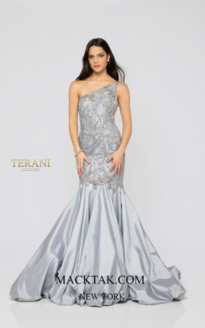 Terani 1911P8367 Crystal Silver Front Dress