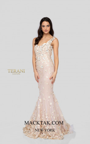Terani 1911P8370 Ivory Chapagne Front Dress