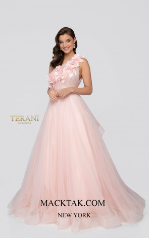 Terani 1911P8479 Peach Cream Front Dress