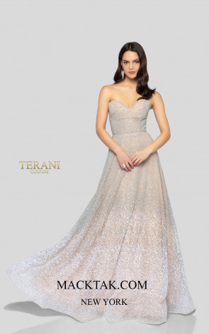 Terani 1911P8482 Silver Nude Front Dress