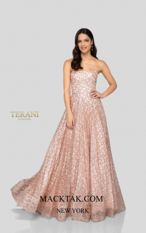 Terani 1911P8492 Antique Blush Front Dress