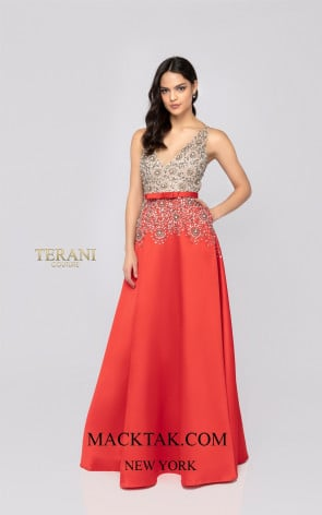 Terani 1911P8497 Crystal Silver Front Dress