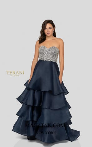 Terani 1911P8498 Gunmetal Navy Front Dress