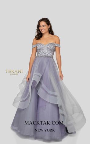 Terani 1911P8501 Silver Lilac Front Dress