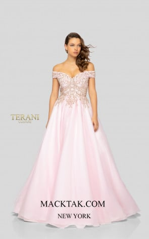 Terani 1911P8507 Blush Rose Gold Front Dress