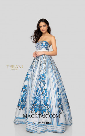 Terani 1911P8516 White Blue Front Dress