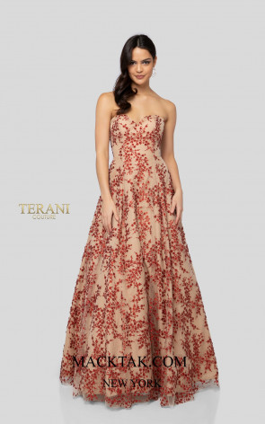 Terani 1911P8519 Red Nude Front Dress