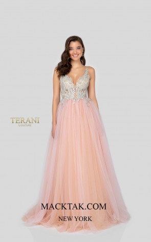 Terani 1911P8527 Blush Nude Front Dress
