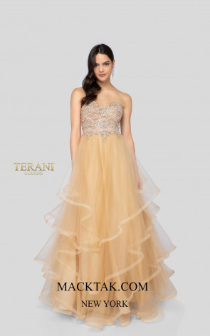 Terani 1911P8539 Champagne Nude Front Dress
