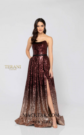 Terani 1911P8541 Wine Rose Gold Front Dress