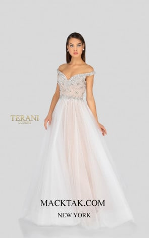 Terani 1911P8543 Ivory Nude Front Dress