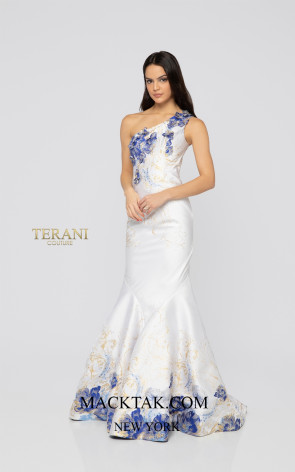 Terani 1911P8637 White Navy Front Dress
