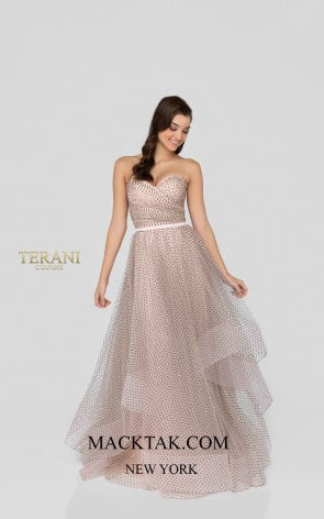 Terani 1912P8578 Blush Black Front Dress