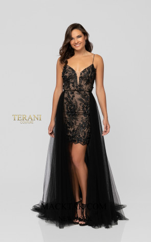 Terani 1913P8041 Black Nude Front Dress