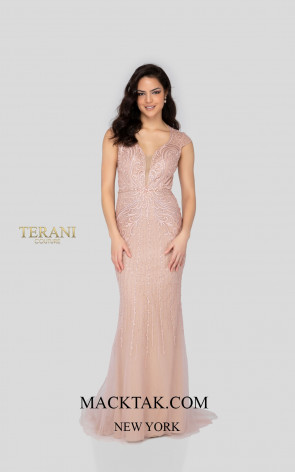 Terani 1913P8311 Blush Nude Front Dress