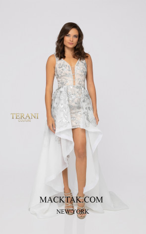 Terani 1913P8312 White Silver Nude Front Dress