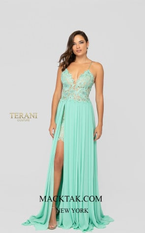 Terani 1913P8324 Mint Nude Front Dress